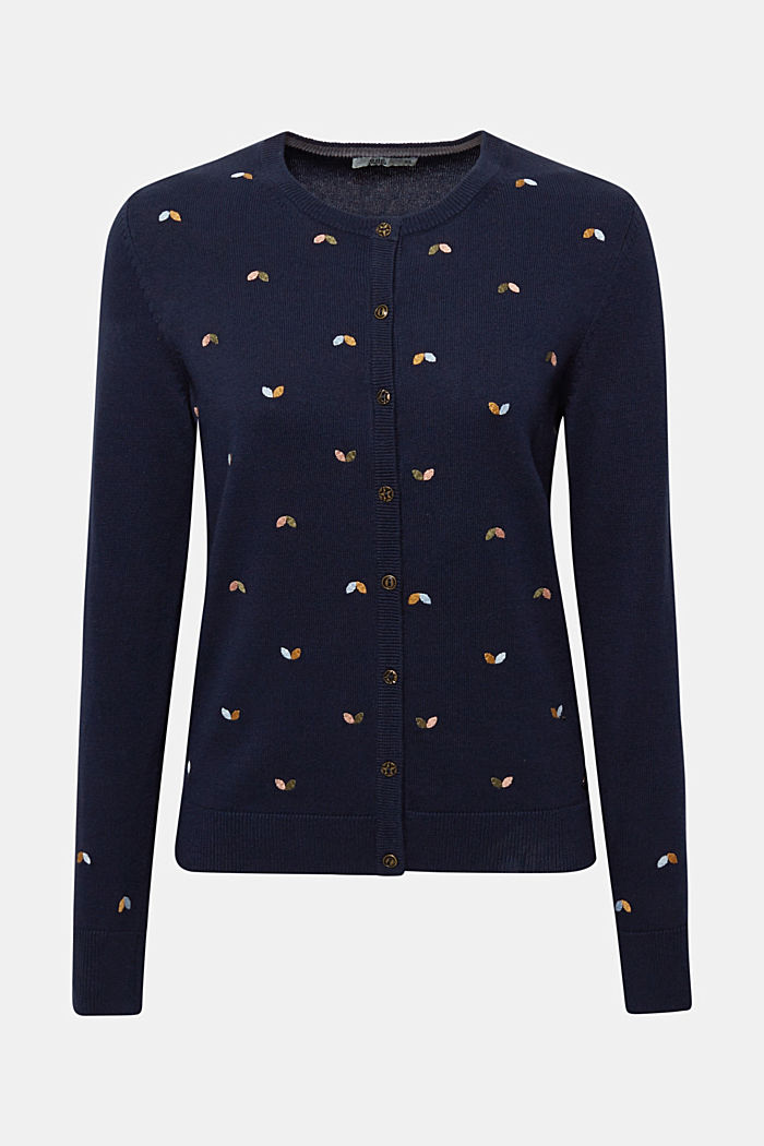 Cardigan with embroidery, 100% cotton, NAVY, detail image number 8