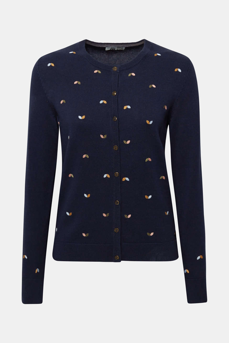 Cardigan with embroidery, 100% cotton, NAVY 2, detail image number 8