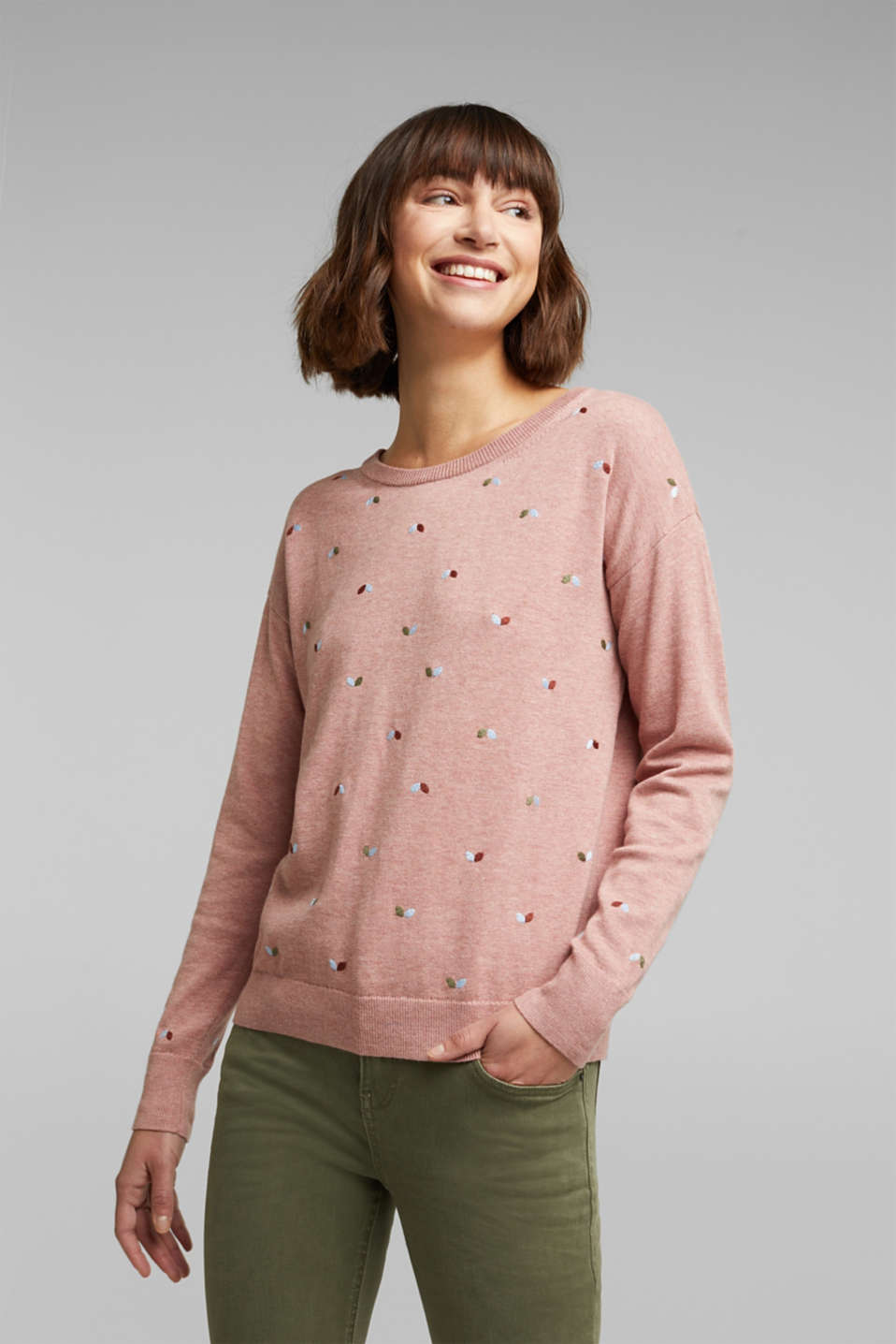 edc - Jumper with embroidery, 100% cotton