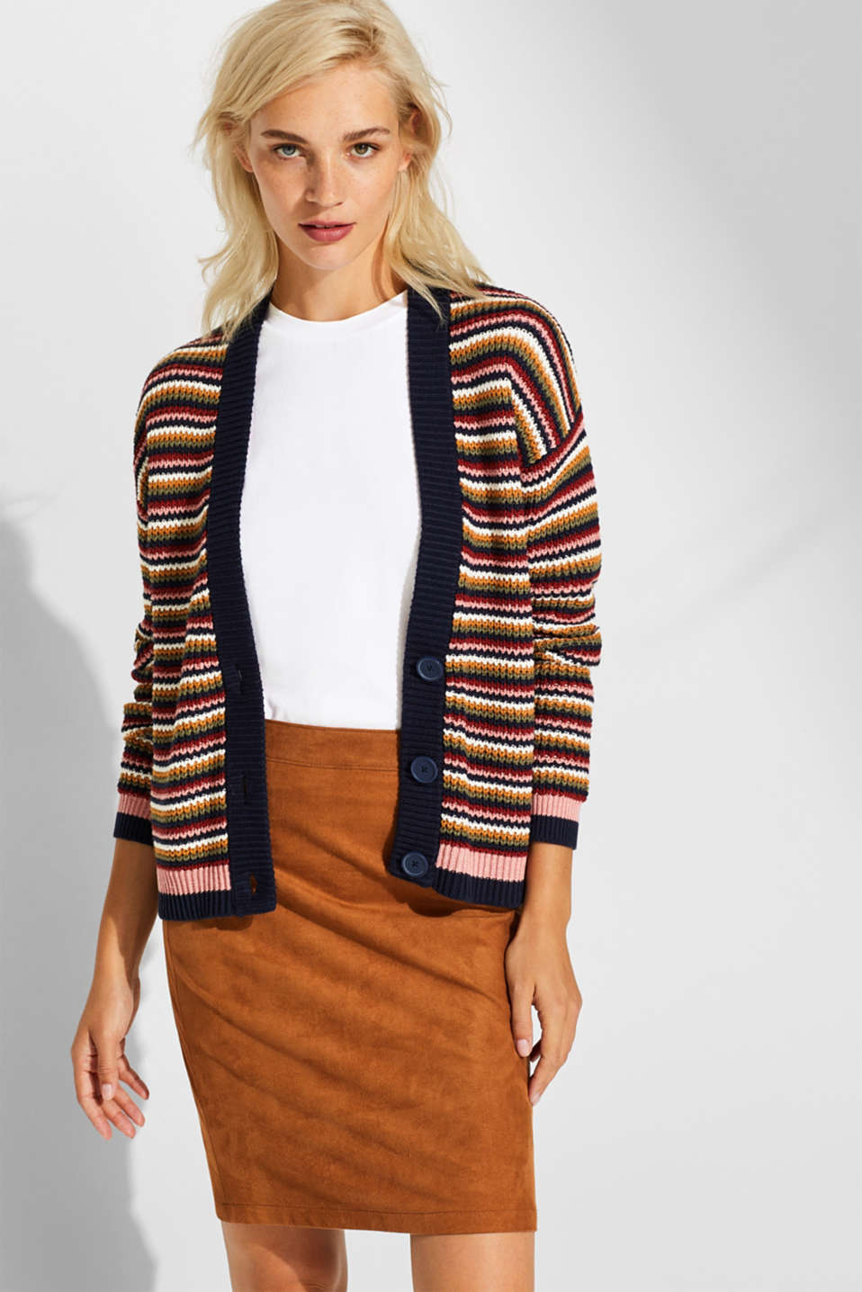 edc - Chunky-knit cardigan with multi-colour stripes