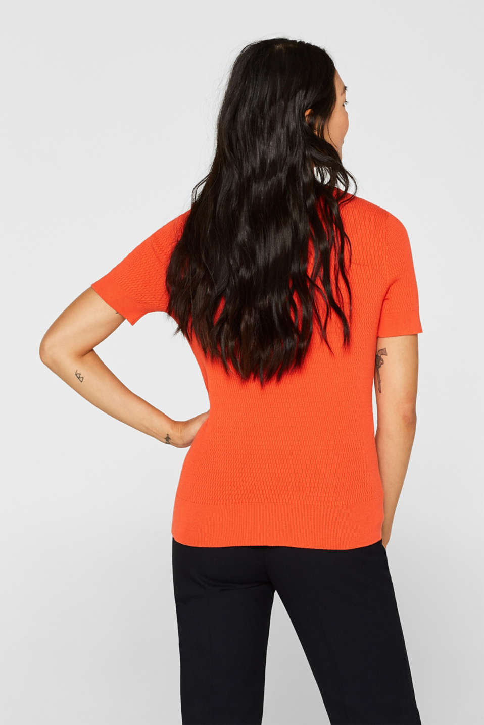 Stretch short-sleeved jumper with a textured pattern, ORANGE, detail image number 3