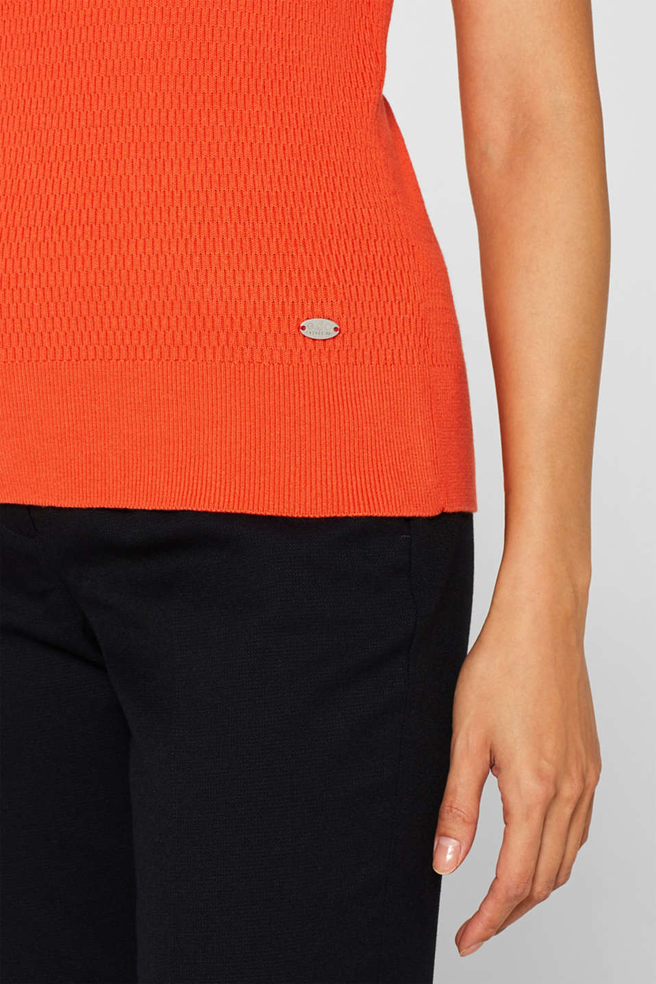 Stretch short-sleeved jumper with a textured pattern, ORANGE, detail image number 2