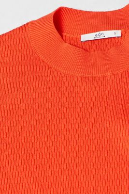 Stretch short-sleeved jumper with a textured pattern, ORANGE, detail
