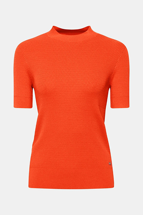 Stretch short-sleeved jumper with a textured pattern