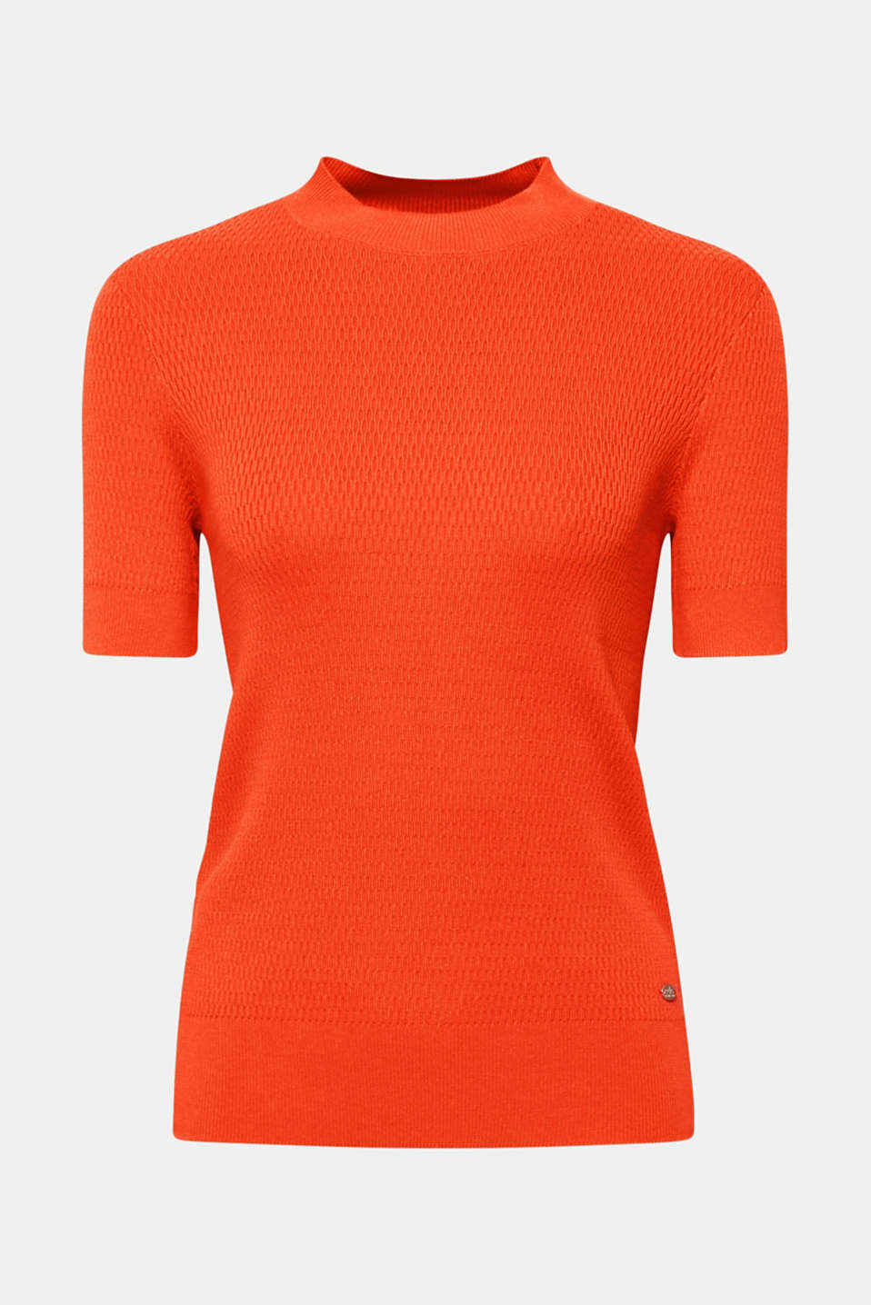 Stretch short-sleeved jumper with a textured pattern, ORANGE, detail image number 5