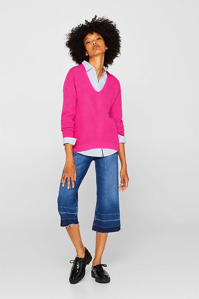 Textured V-neck jumper, PINK FUCHSIA, detail image number 5