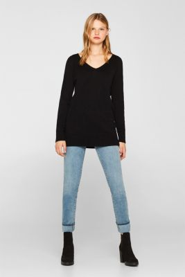 V-neck jumper containing organic cotton, BLACK, detail
