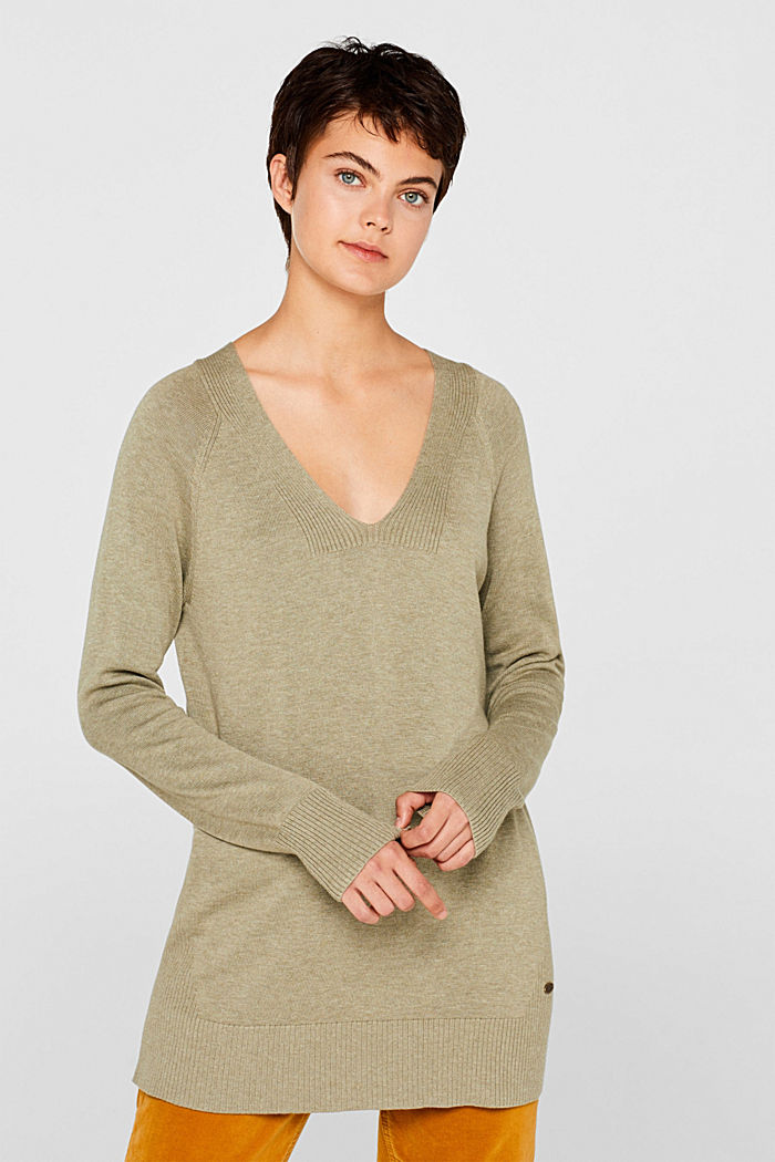 V-neck jumper containing organic cotton, KHAKI GREEN, detail image number 0