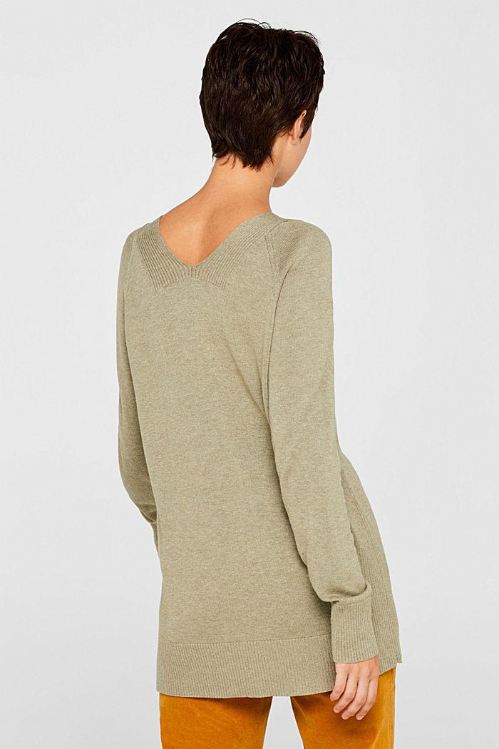 V-neck jumper containing organic cotton, KHAKI GREEN, detail image number 3