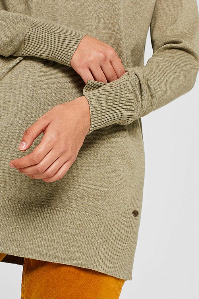 V-neck jumper containing organic cotton, KHAKI GREEN, detail image number 2