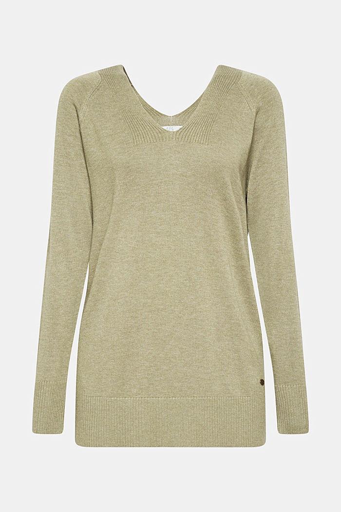 V-neck jumper containing organic cotton, KHAKI GREEN, detail image number 6