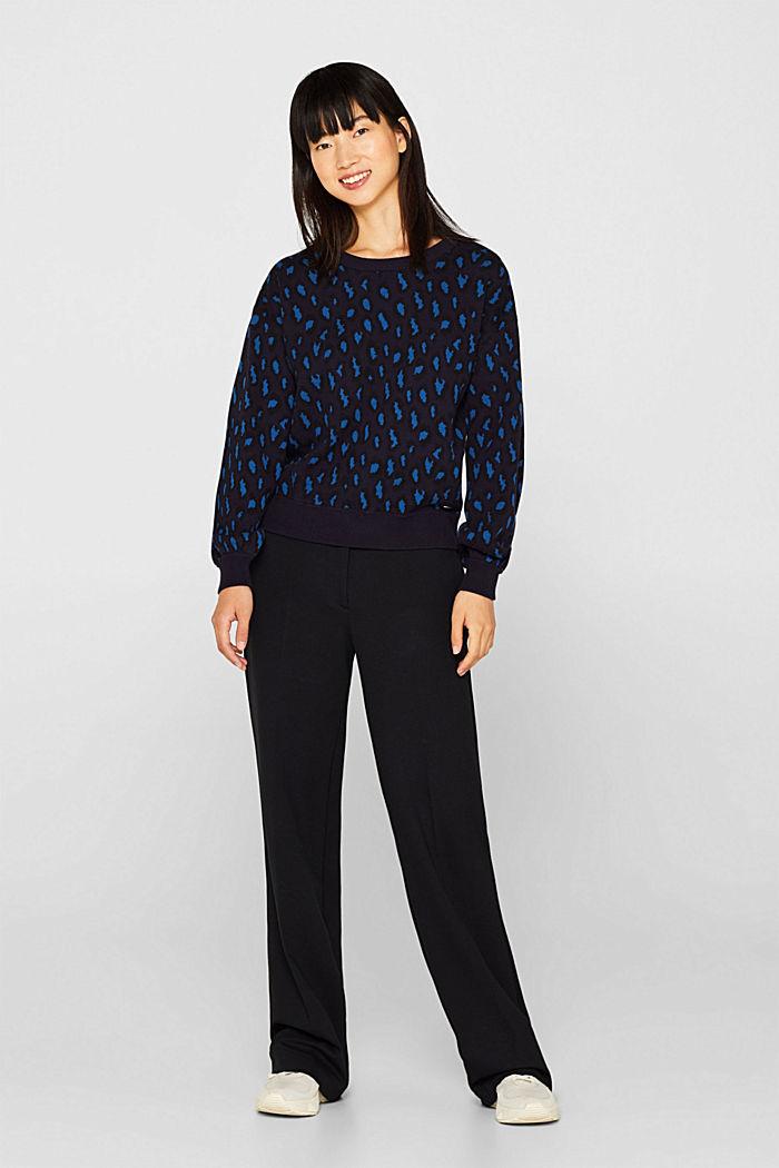 Leopard sweatshirt, 100% cotton, BRIGHT BLUE, detail image number 1