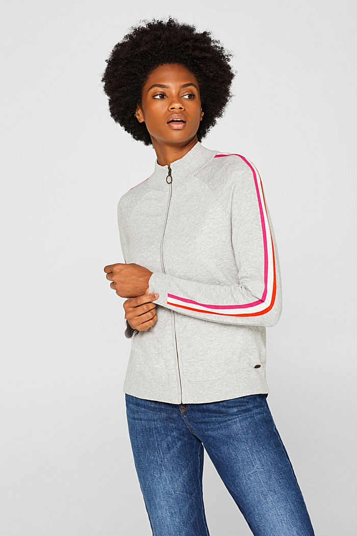 Cardigan with racing stripes, LIGHT GREY, detail image number 0