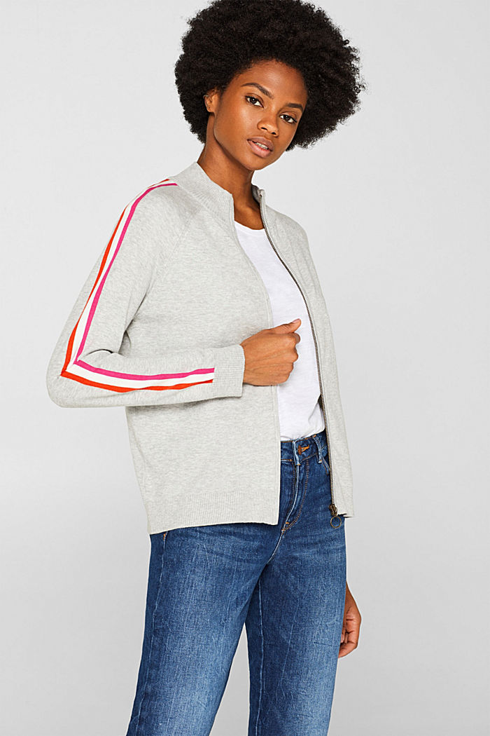 Cardigan with racing stripes, LIGHT GREY, detail image number 5