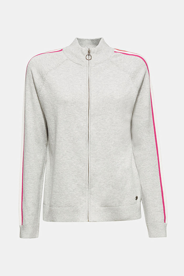 Cardigan with racing stripes, LIGHT GREY, detail image number 6