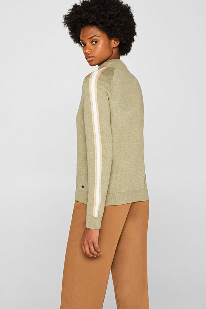 Cardigan with racing stripes, KHAKI GREEN, detail image number 3