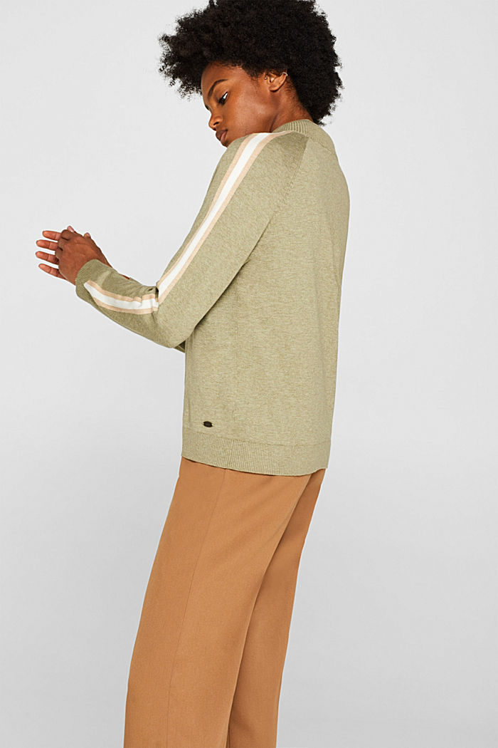 Cardigan with racing stripes, KHAKI GREEN, detail image number 5