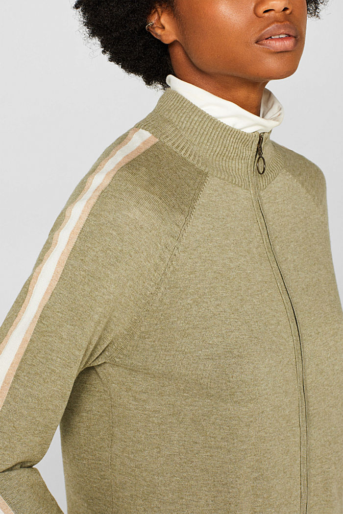 Cardigan with racing stripes, KHAKI GREEN, detail image number 2
