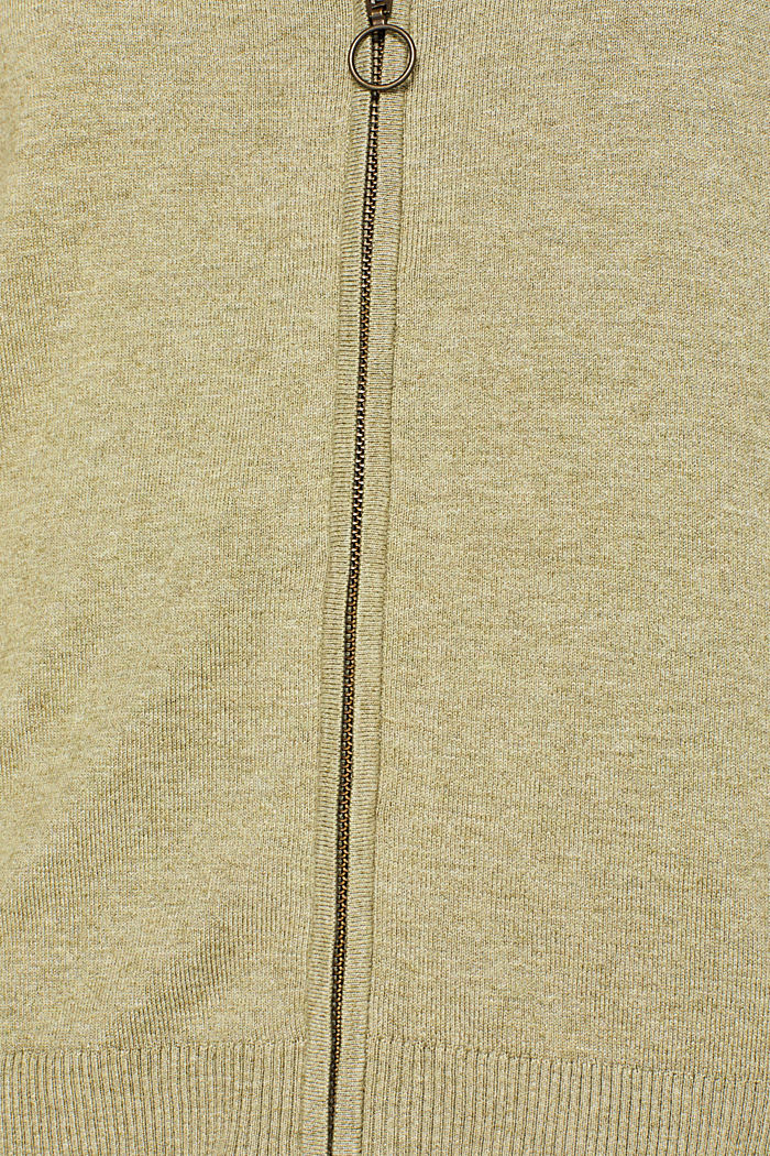 Cardigan with racing stripes, KHAKI GREEN, detail image number 4