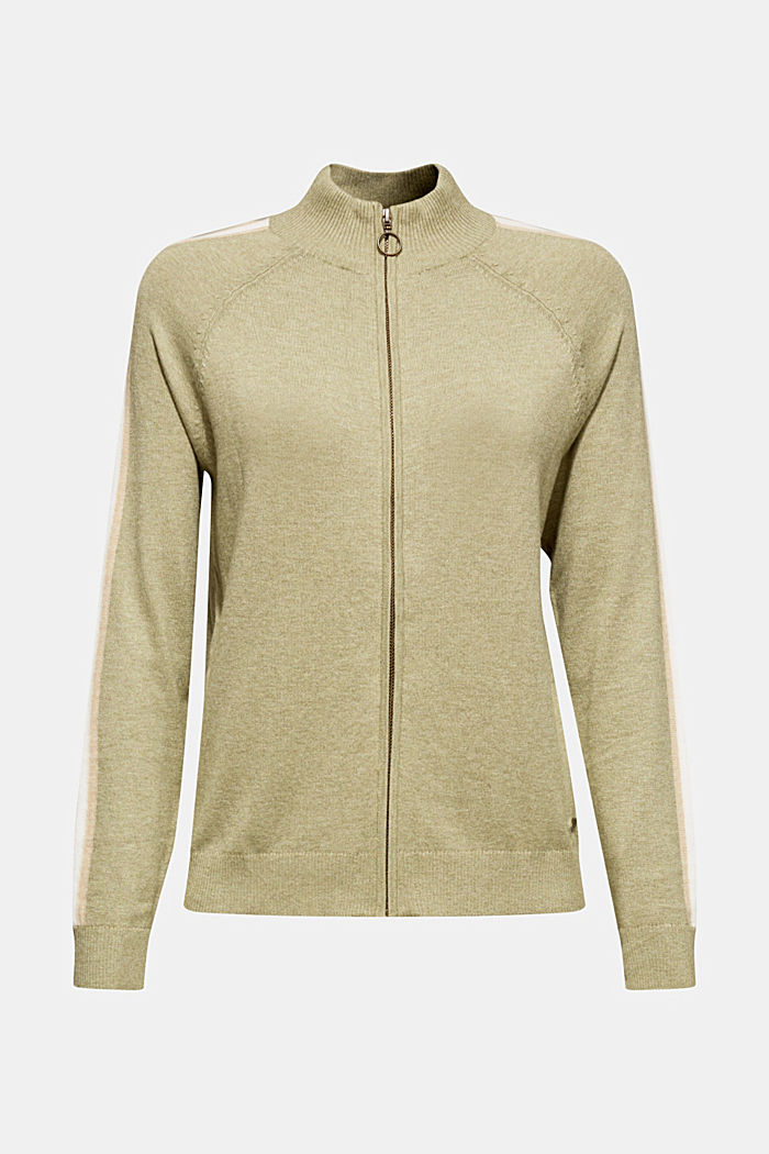 Cardigan with racing stripes, KHAKI GREEN, detail image number 6