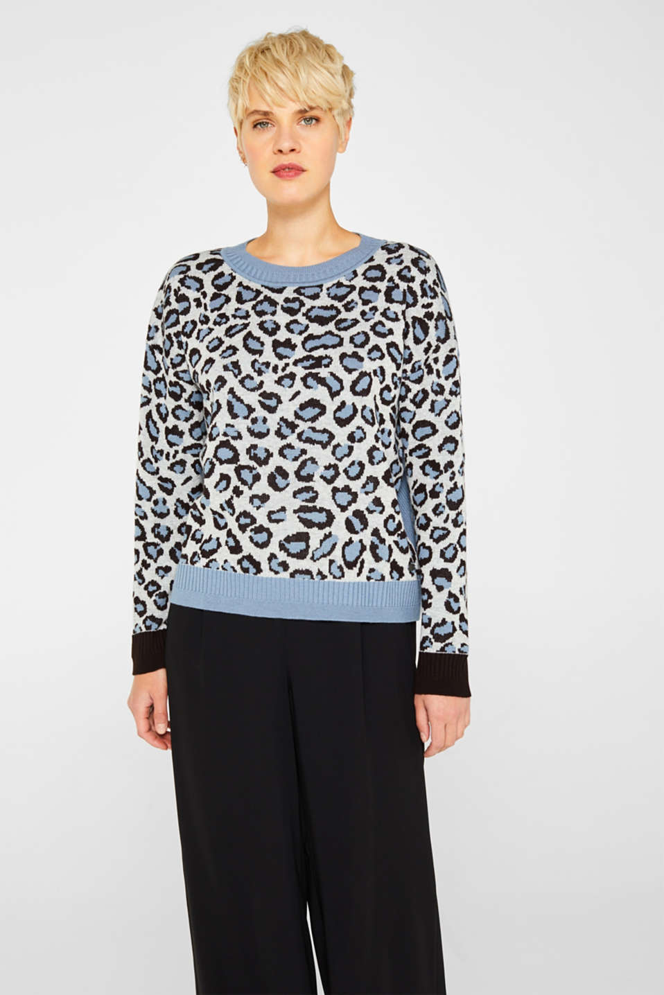 With wool: jumper with animal print, LIGHT BLUE, detail image number 0