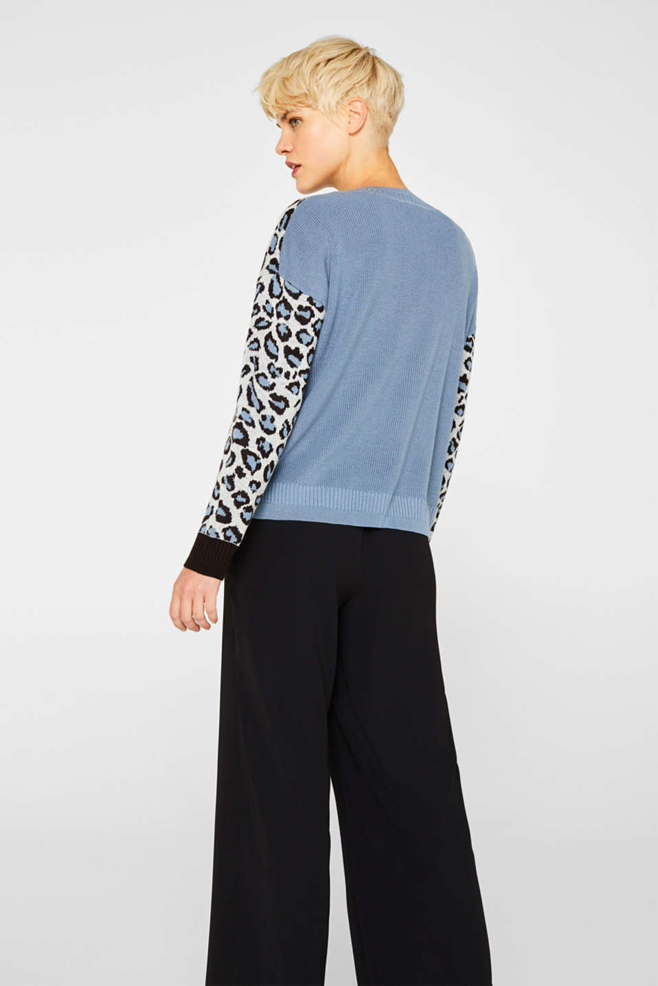With wool: jumper with animal print, LIGHT BLUE, detail image number 3