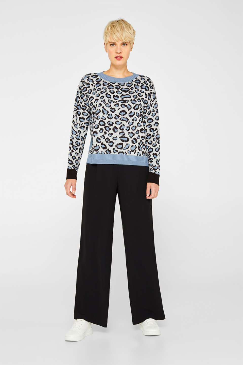 With wool: jumper with animal print, LIGHT BLUE, detail image number 1