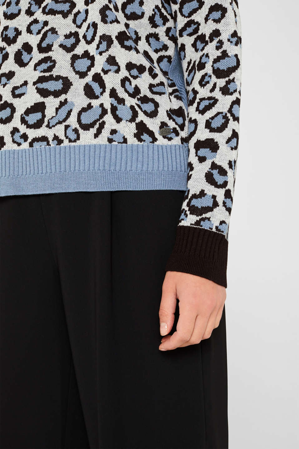 With wool: jumper with animal print, LIGHT BLUE, detail image number 2