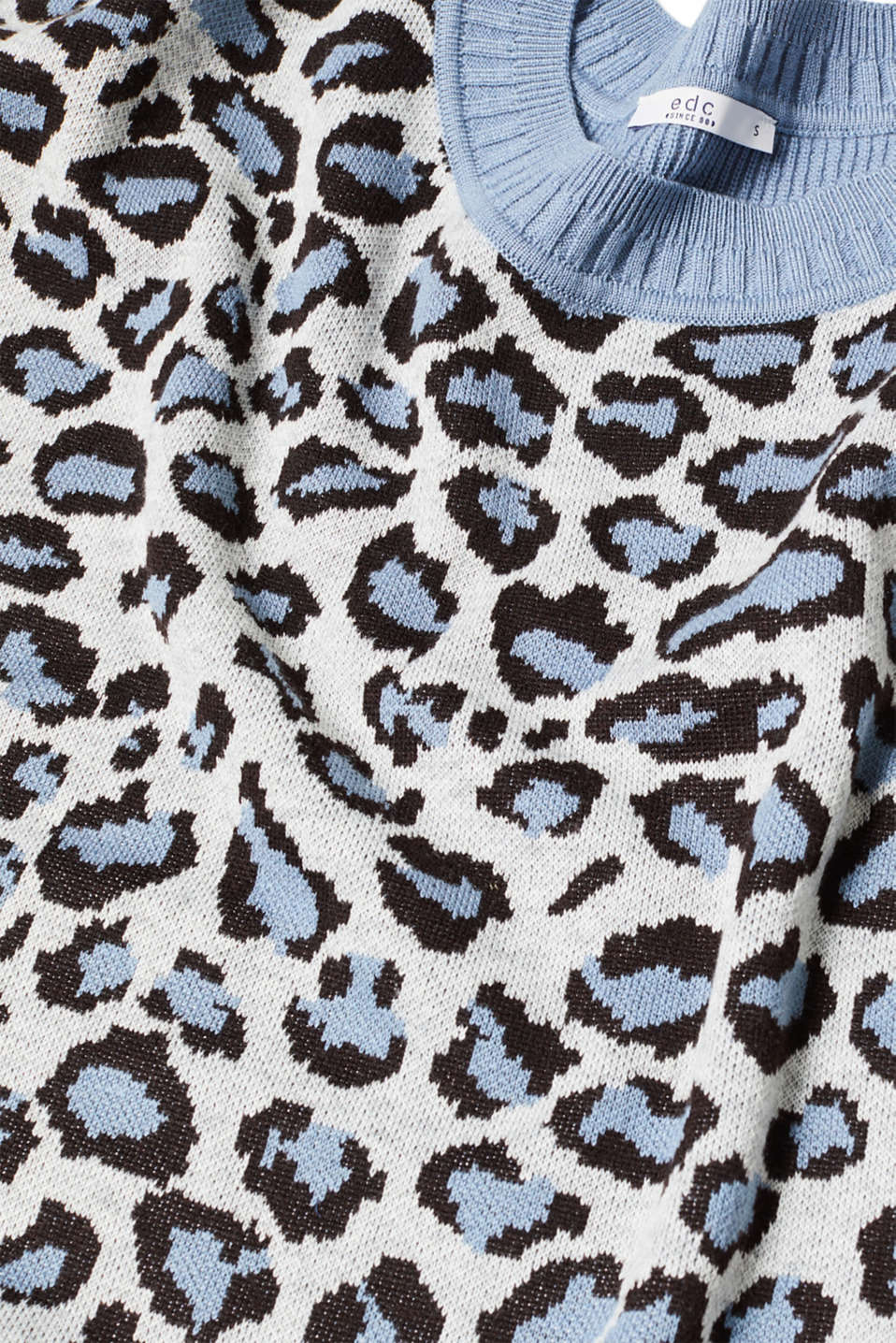 With wool: jumper with animal print, LIGHT BLUE, detail image number 4