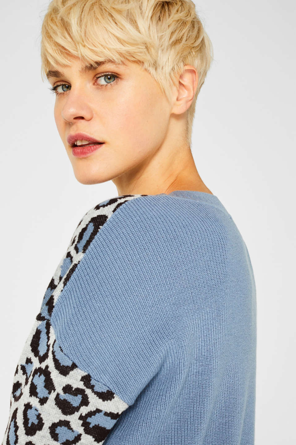 With wool: jumper with animal print, LIGHT BLUE, detail image number 5