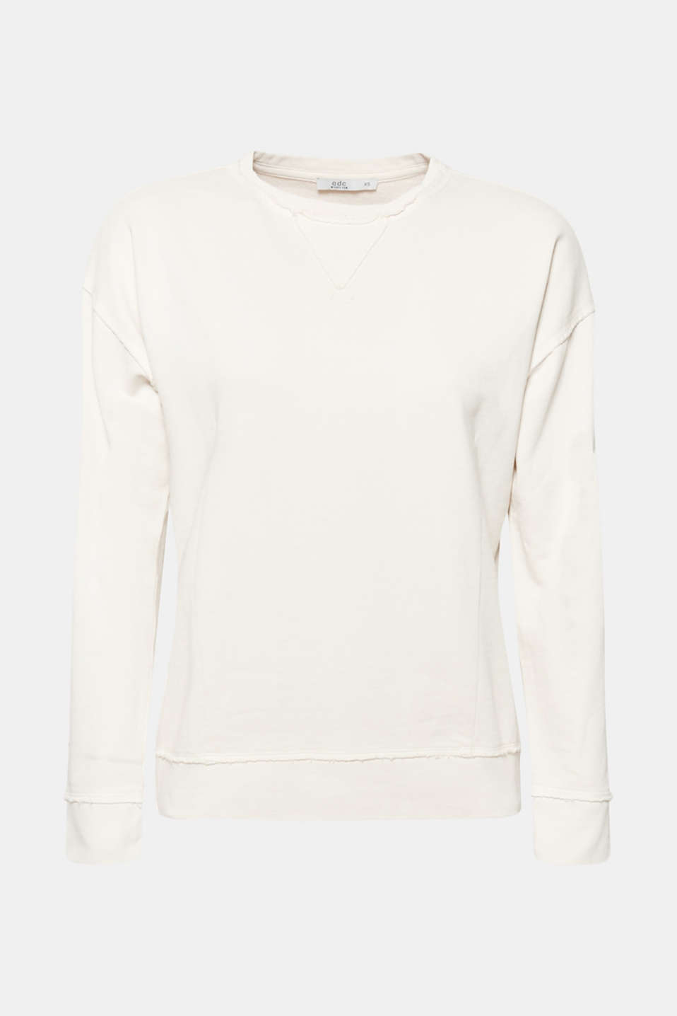 Jumper with zip details, 100% cotton, OFF WHITE, detail image number 6