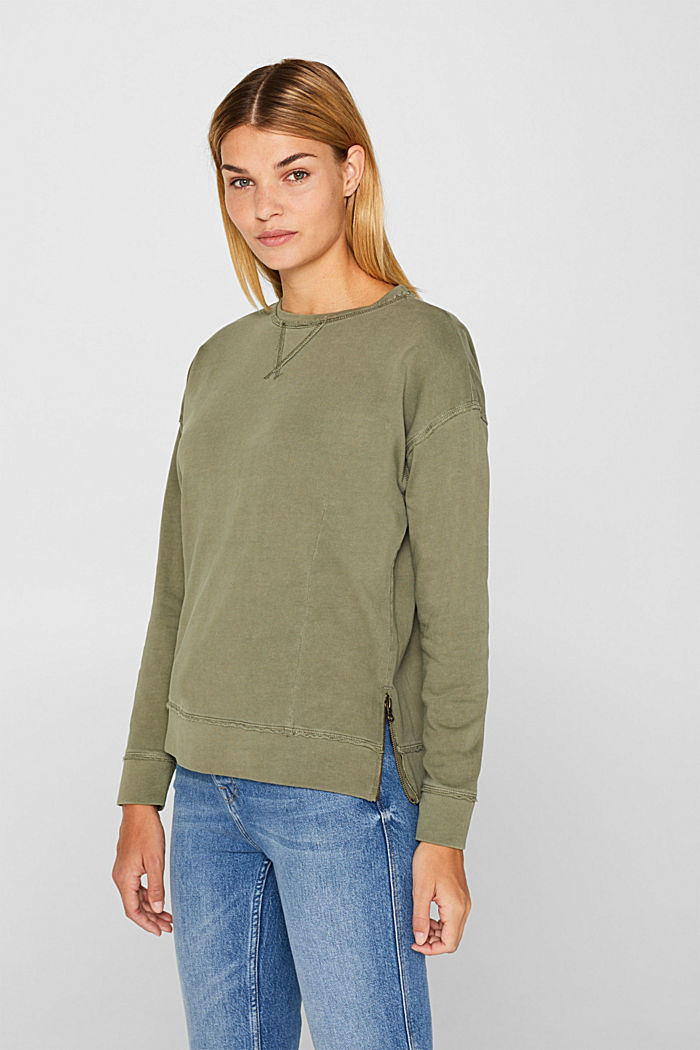 Jumper with zip details, 100% cotton, KHAKI GREEN, overview