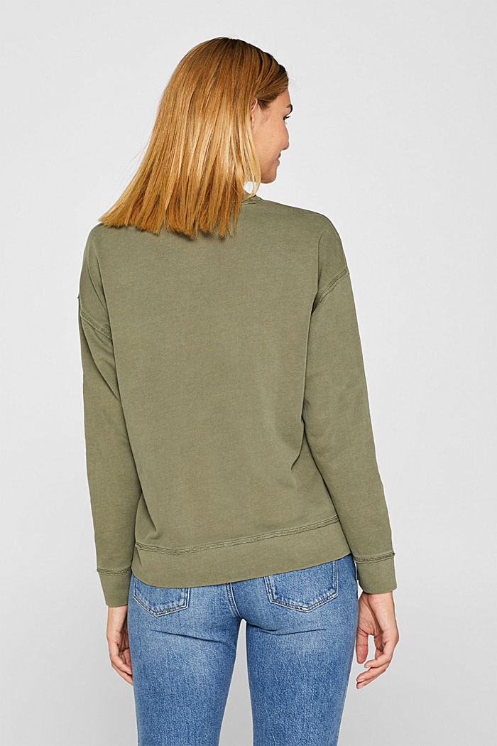 Jumper with zip details, 100% cotton, KHAKI GREEN, detail image number 3