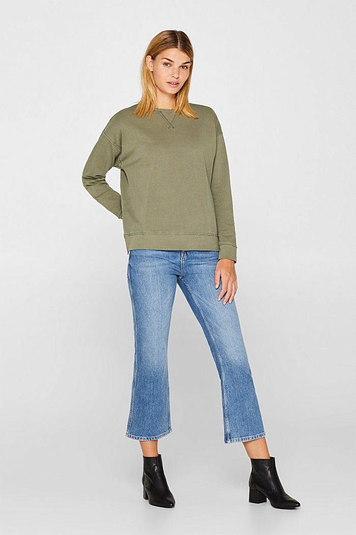 Jumper with zip details, 100% cotton, KHAKI GREEN, detail image number 1