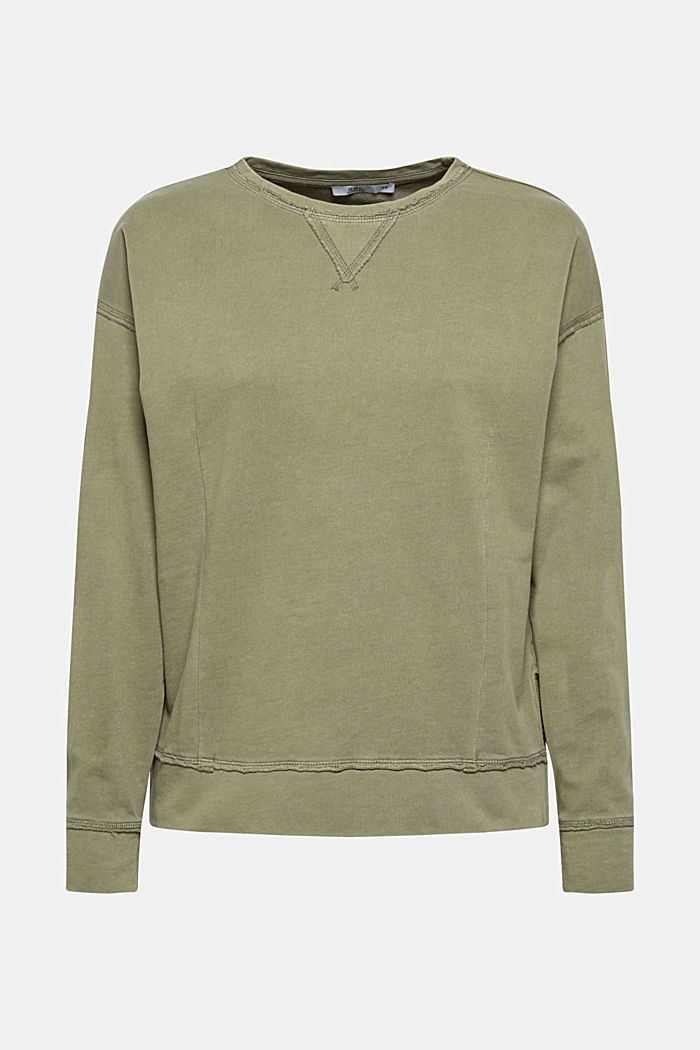 Jumper with zip details, 100% cotton, KHAKI GREEN, detail image number 5