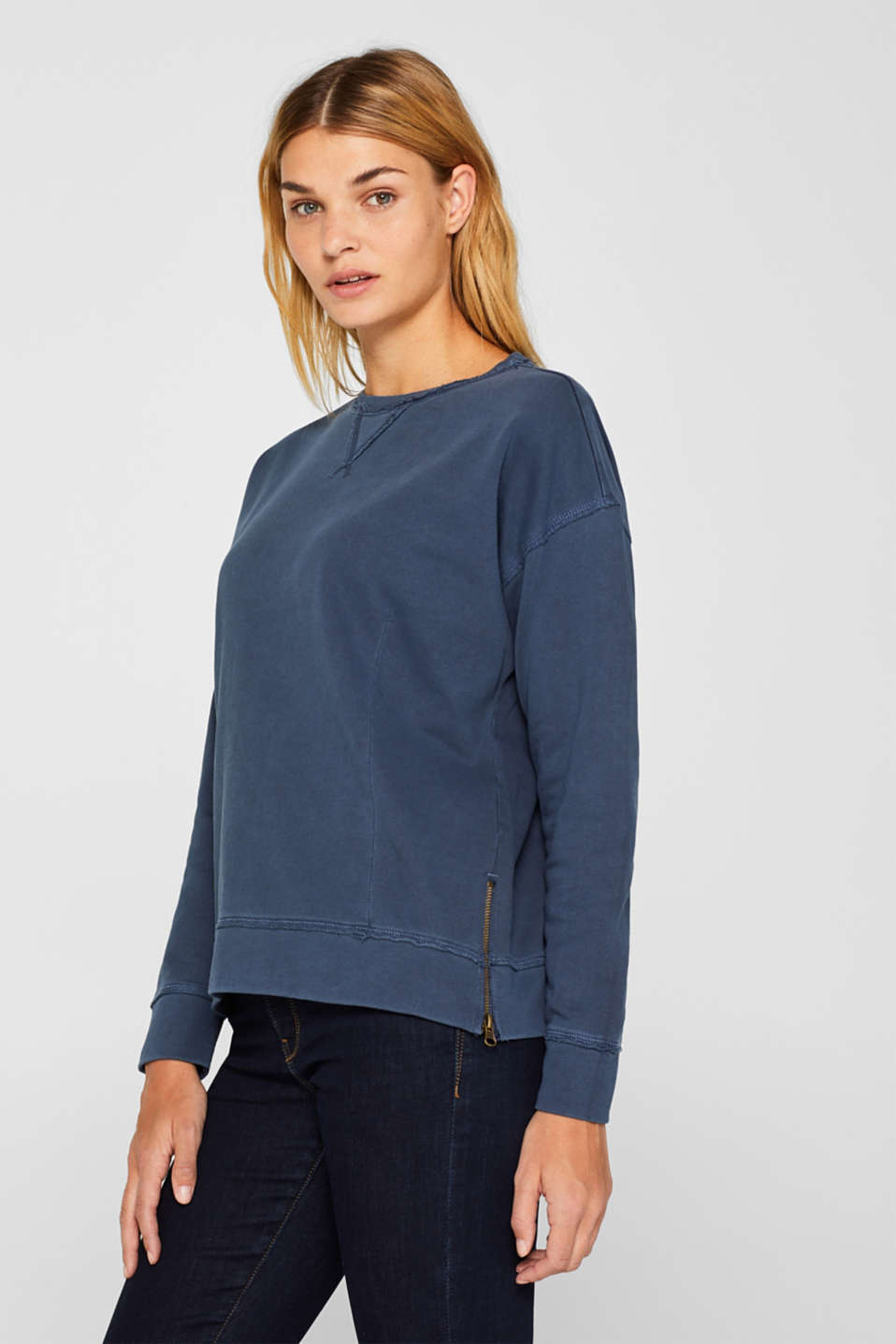 edc - Jumper with zip details, 100% cotton