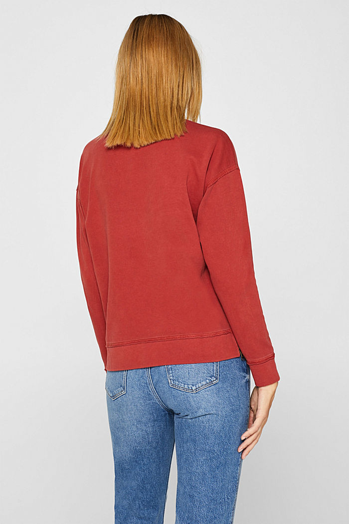 Jumper with zip details, 100% cotton, RUST ORANGE, detail image number 3