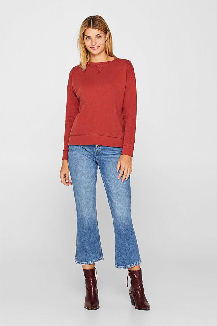 Jumper with zip details, 100% cotton, RUST ORANGE, detail image number 1