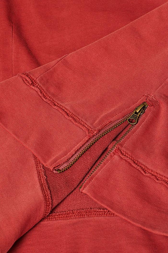 Jumper with zip details, 100% cotton, RUST ORANGE, detail image number 4
