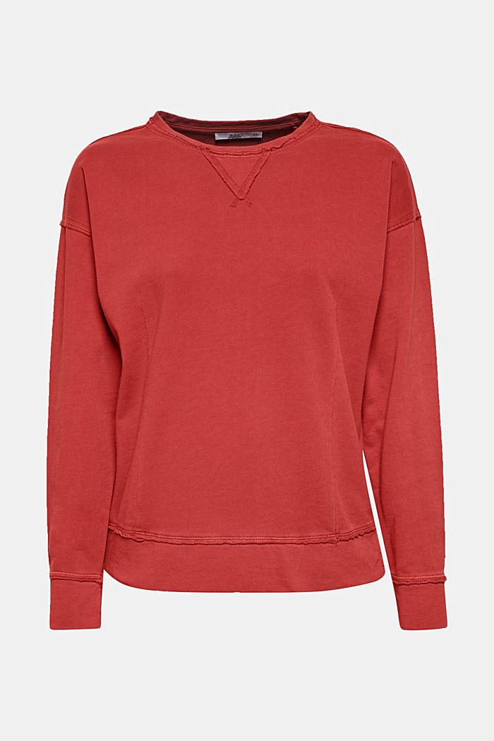 Jumper with zip details, 100% cotton, RUST ORANGE, detail image number 6