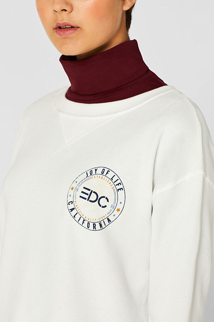 Piqué sweatshirt with print, 100% cotton, OFF WHITE, detail image number 2