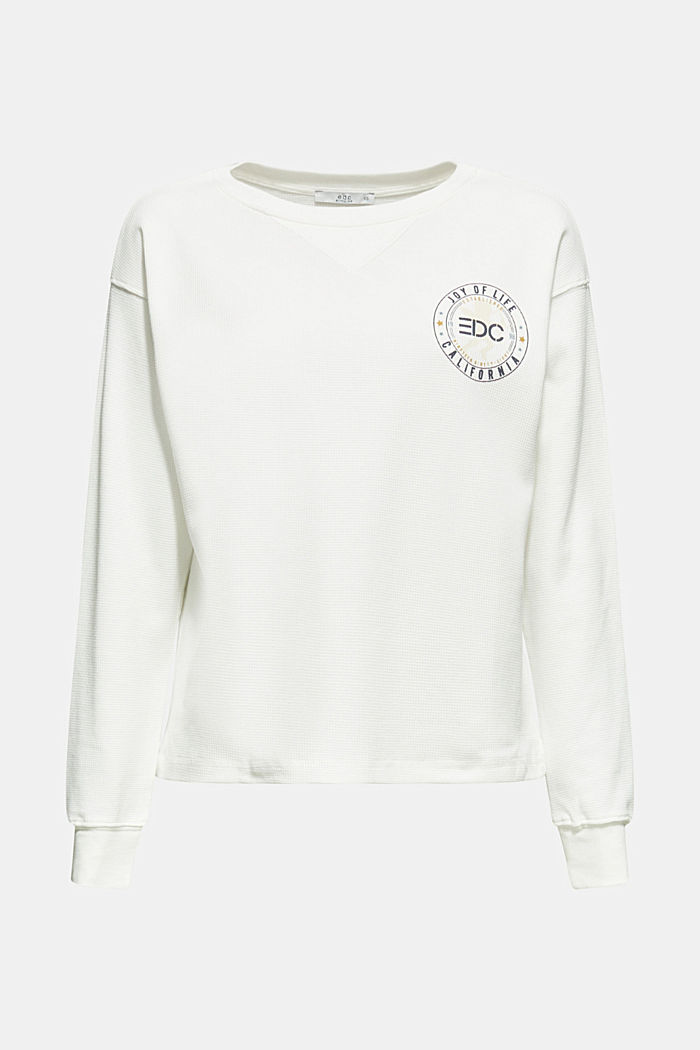 Piqué sweatshirt with print, 100% cotton, OFF WHITE, detail image number 0