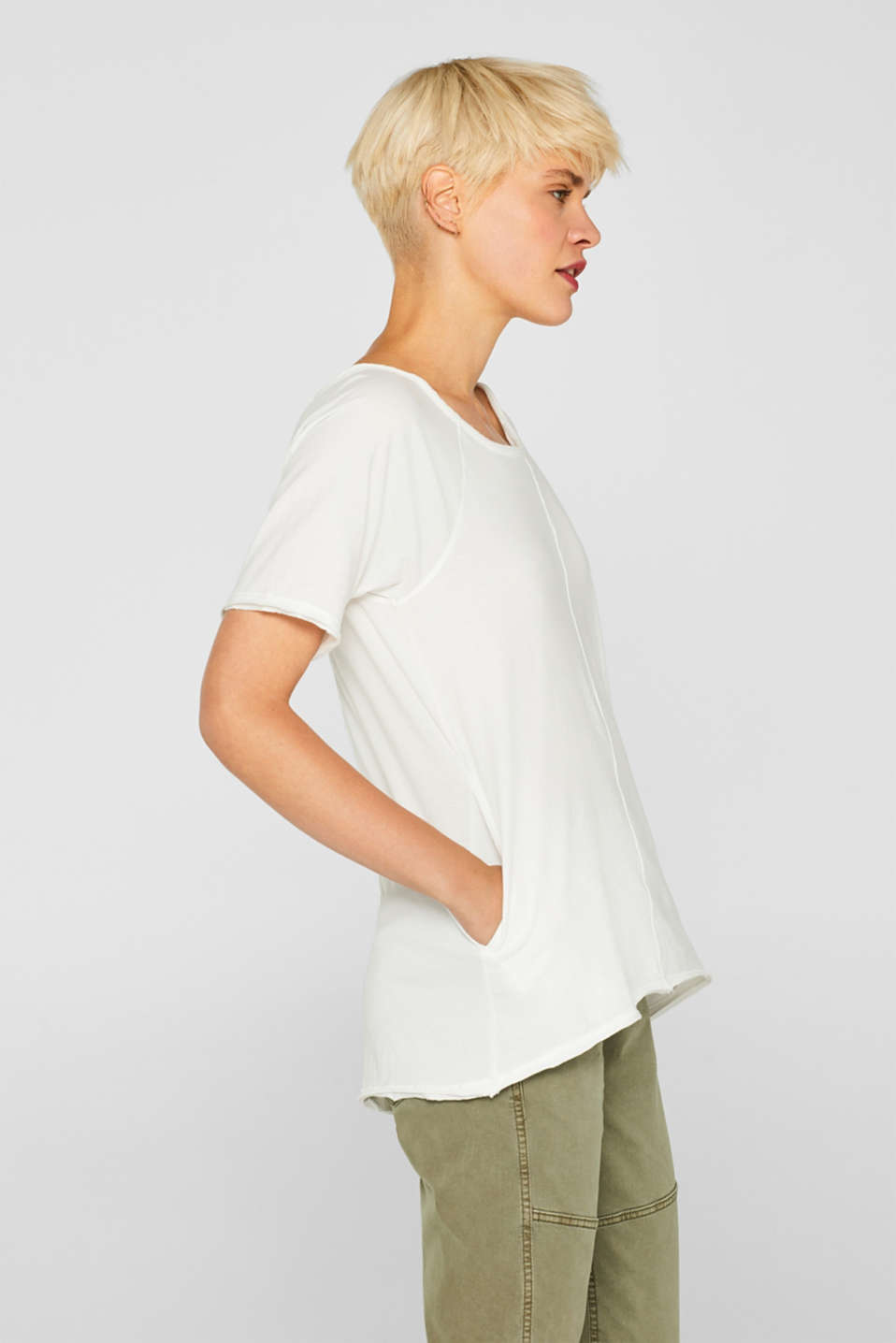 edc - T-shirt with slit pockets, 100% cotton