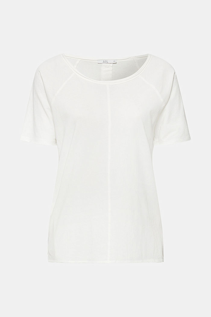 T-shirt with slit pockets, 100% cotton, OFF WHITE, detail image number 0