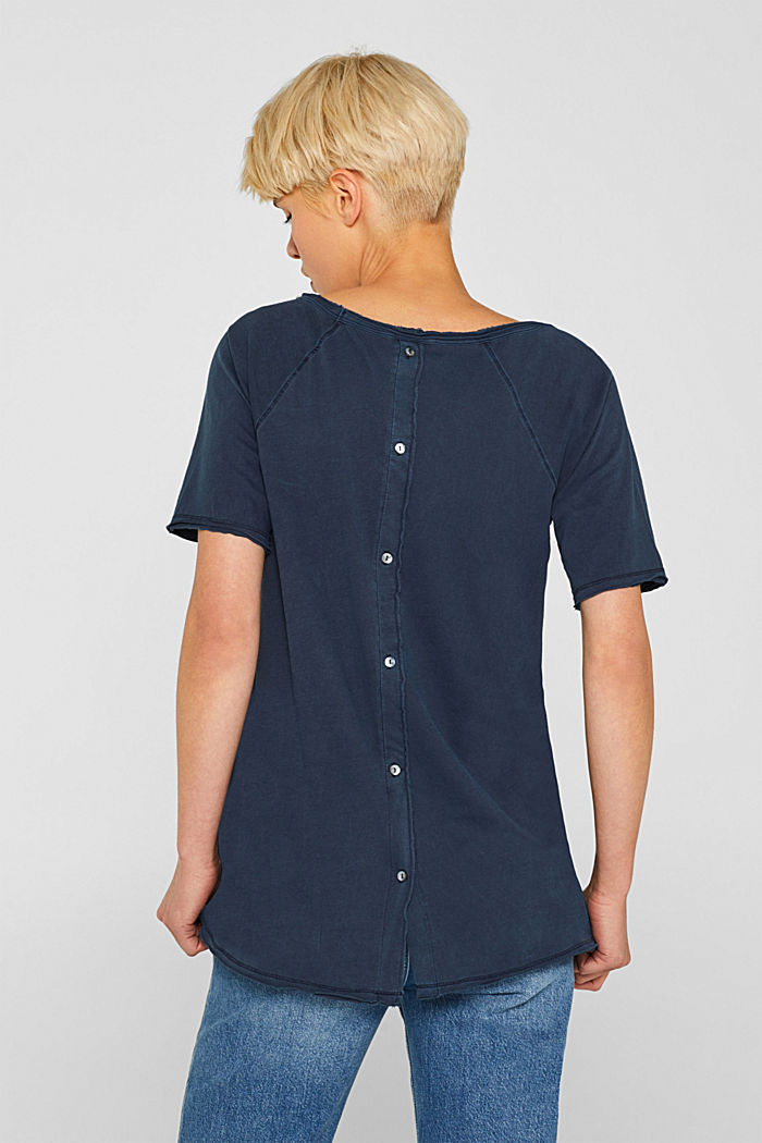 T-shirt with slit pockets, 100% cotton, NAVY, detail image number 3