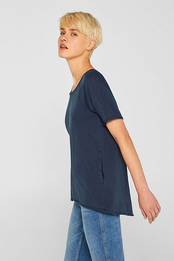 T-shirt with slit pockets, 100% cotton, NAVY, detail image number 5