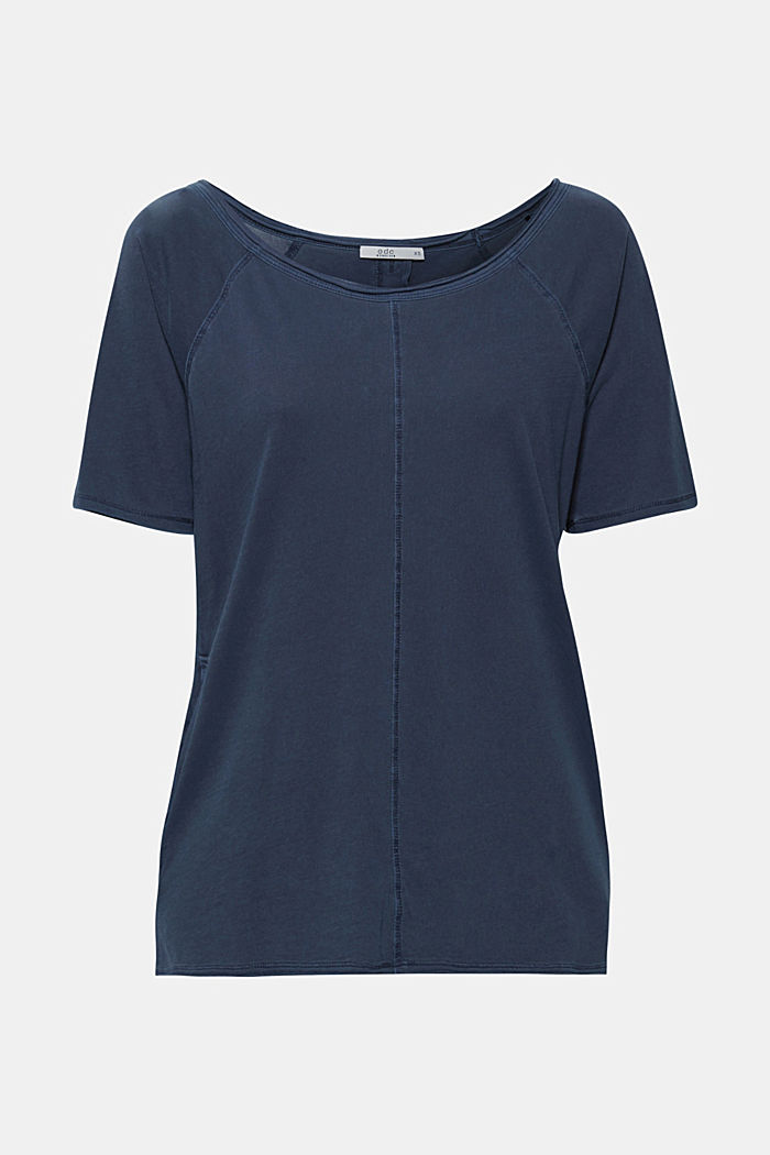 T-shirt with slit pockets, 100% cotton, NAVY, detail image number 7