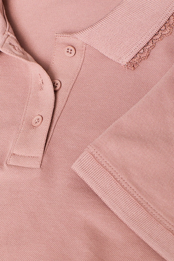 Lace-trimmed polo shirt, OLD PINK, detail image number 4