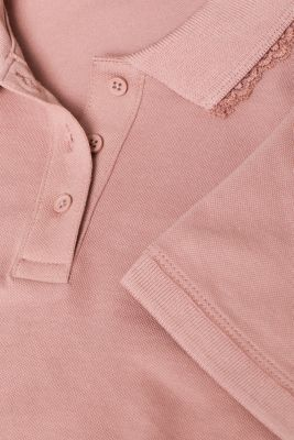 Lace-trimmed polo shirt, OLD PINK, detail