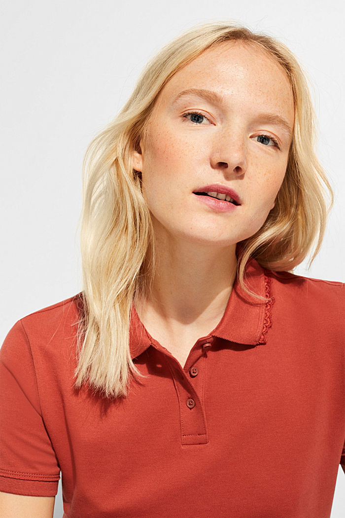 Lace-trimmed polo shirt, RUST ORANGE, detail image number 5